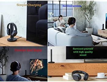 Sony Wireless Headphones for TV Watching (WHRF400R) with Transmitter Dock (TMRRF400) – 6-ft 3.5mm Stereo + NeeGo RCA ...
