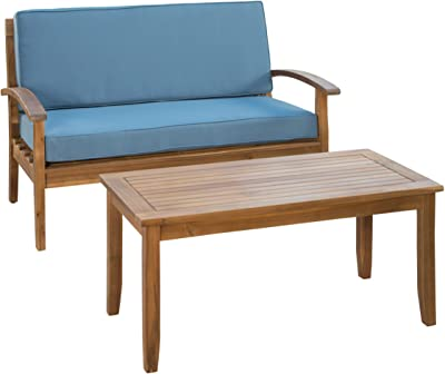 Christopher Knight Home Peyton Outdoor Acacia Wood Loveseat and Coffee Table Set with Water Resistant Cushions, Teak Finish / Blue