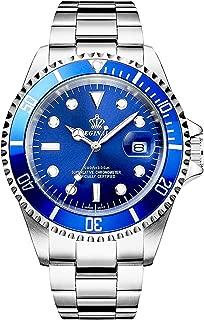 Reginald Men's Luminous Watch Rotatable Bezel Sapphire Glass Blue Dial Stainless Steel Quartz Watches 40M
