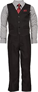 Boys 4 Piece Suit Set with Vest Dress Shirt Tie Pants and Hankerchief