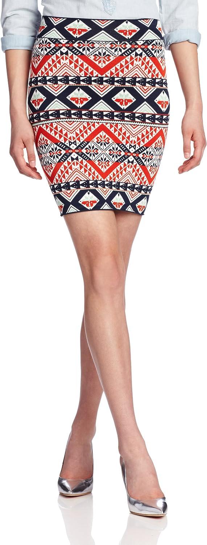 BCBGMAXAZRIA Women's Starr Peruvian Patchwork Jacquard Skirt