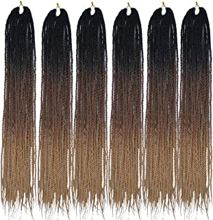 MSCHARM 6Packs 24Inch 30Strands Long Soft Crochet Ombre High Temperature Senegalese Twist Braids Hair Synthetic Braiding Hair Extension(Black-Dark Brown-Light Brown)