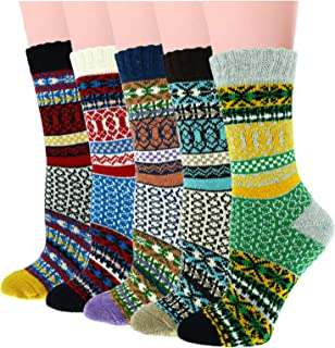 5 Pairs Womens Knit Warm Casual Wool Crew Winter Cozy Soft Socks For Cold Weather Christmas Gifts