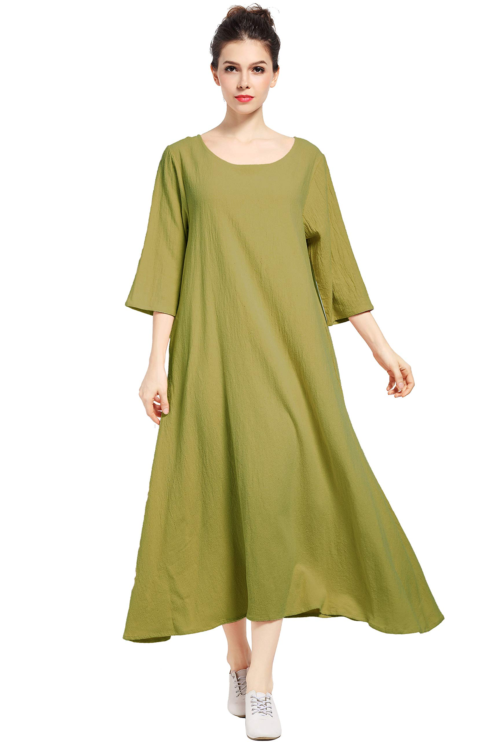 Available at Amazon: Anysize Three Quarter Sleeve Linen Cotton Spring Summer Plus Size Dress F140A