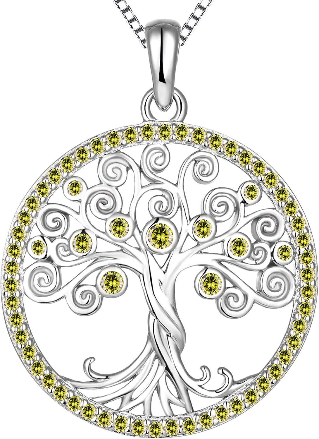 YL Tree Popular products Necklace Sterling Silver Halo Life lowest price Round of Pendant