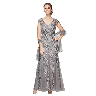 Alex Evenings Long Embroidered Fit-and-Flare Dress with Godet Detail Skirt and Shawl (Pewter) Women