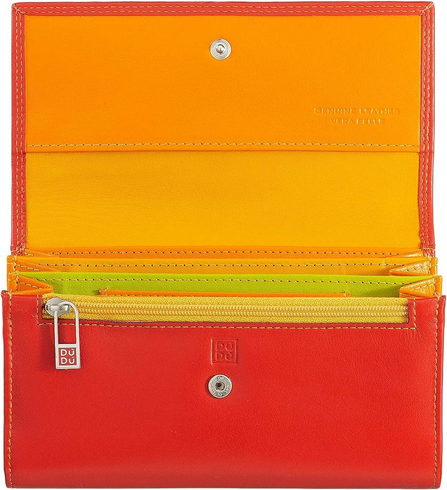 Dudu, portafoglio, porta carte di credito a bustina, per donna, in pelle, rosso 8031847140958