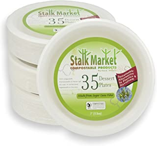 Stalkmarket 100% Compostable Sugar Cane Fiber Heavy Duty Tableware Retail Packs, 7-Inch Plate, 420-Count Case (Case of 12 Individual Retail Packs of 35 Plates)