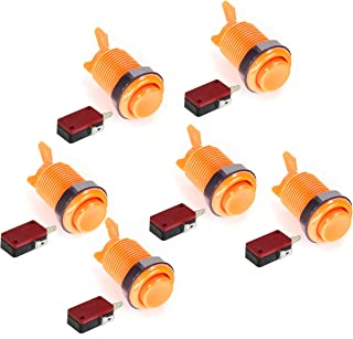 American Style 28mm Standard Arcade Push Button 6 Pack Orange With Microswitch by Atomic Market