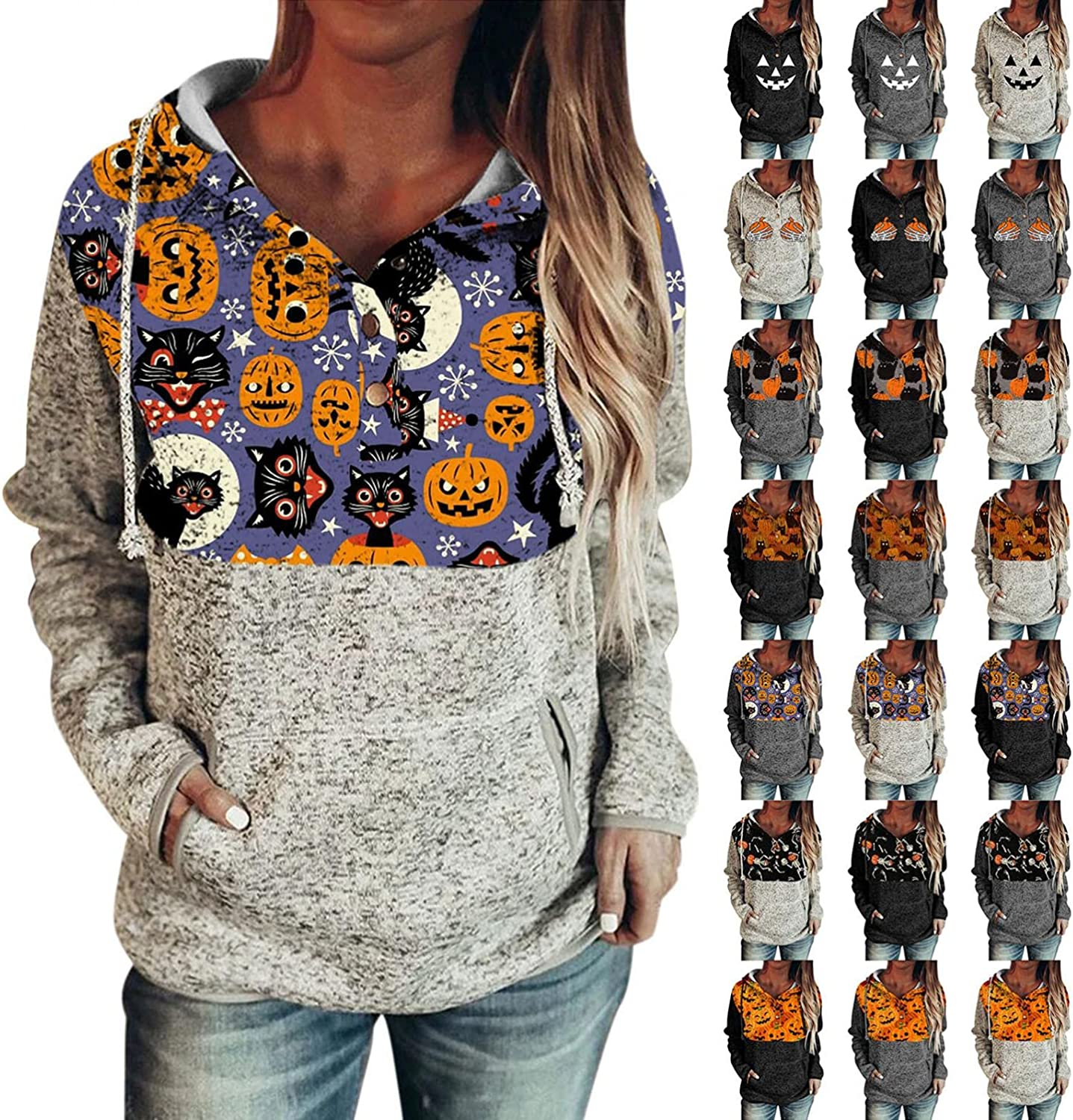 Fudule Halloween Sweatshirts for Women Pumpkin Face Graphic Hoodies with Pocket Long Sleeve Shirts Button Down Blouses