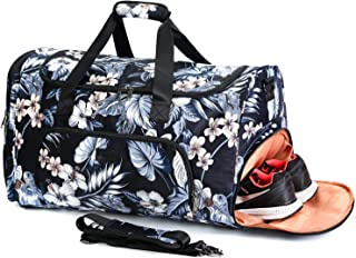 Travel Duffle Bag have Exquisite Space Design for Weekend Overnight Carry on Bag with Shoes Compartment for Unisex(Floral Black)
