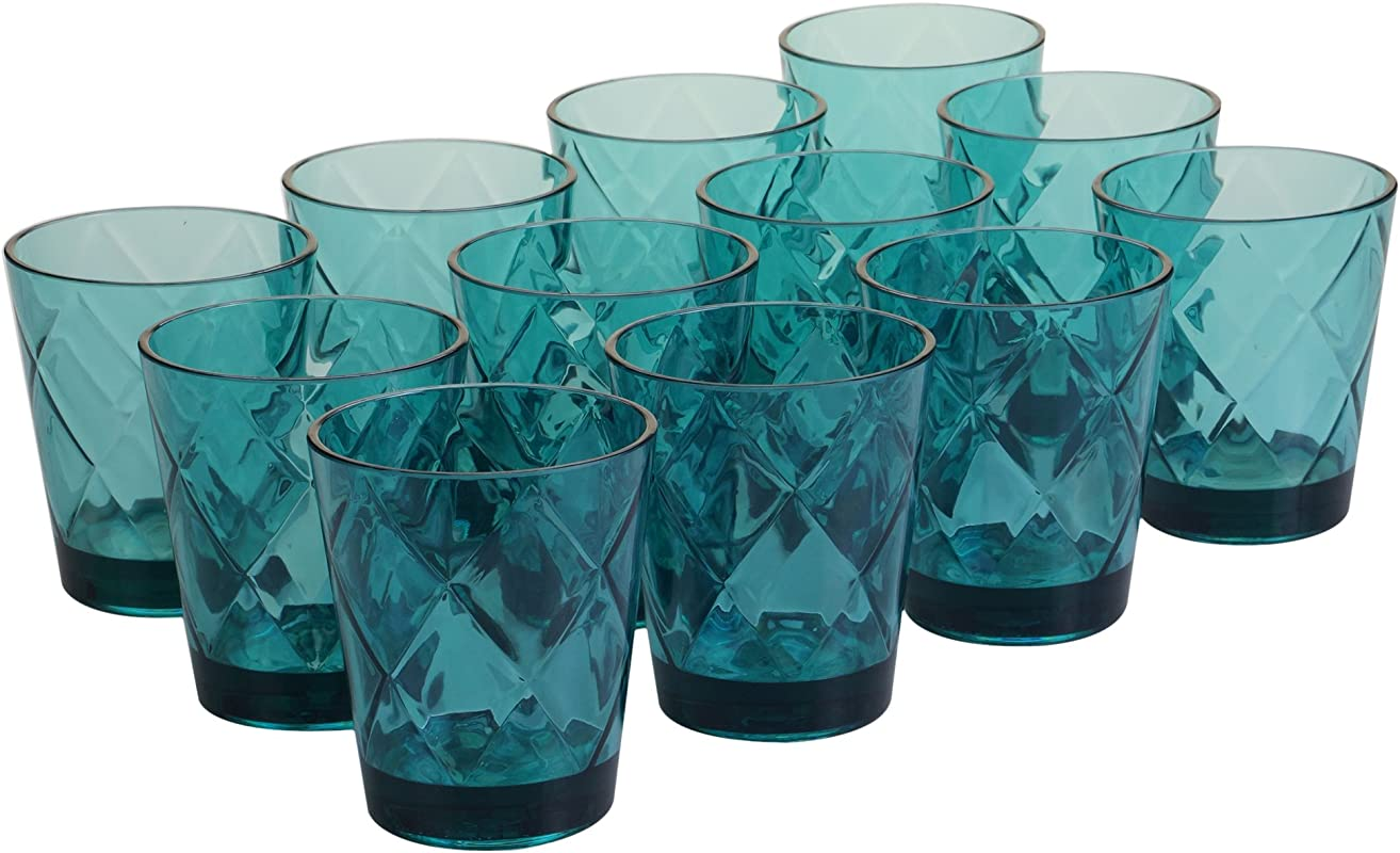 Certified International Teal 15 Oz Acrylic Double Old Fashion Drinkware Set Of 12 Teal