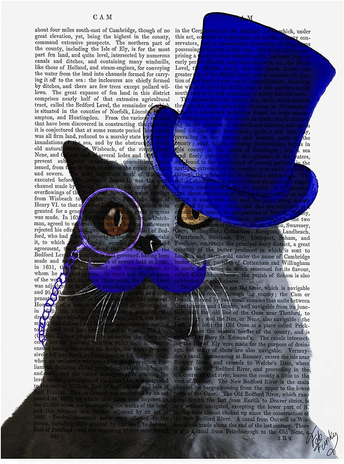 Trademark Fine Art Grey Cat Top Hat and bluee Moustache by Fab Funky, 14x19