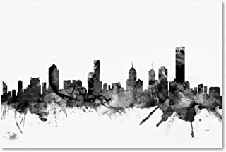 Melbourne Skyline B&W by Michael Tompsett, 22x32-Inch Canvas Wall Art