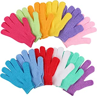 12 Pairs Double Sided Exfoliating Gloves Body Scrubber Scrubbing Glove Bath Mitts Scrubs for Shower, Body Spa Massage Dead Skin Cell Remover, 12 Colors