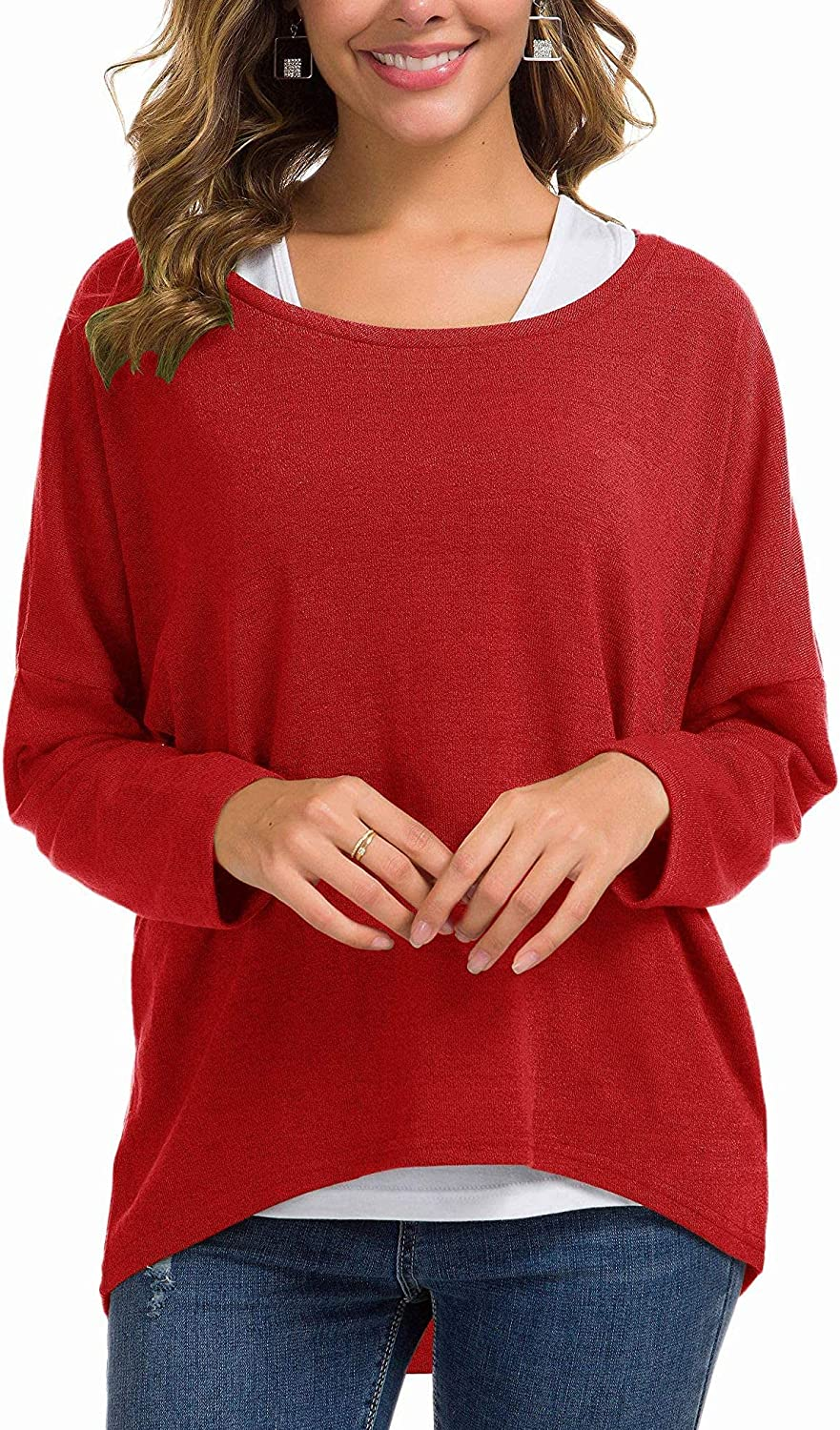 UGET Women's Oversized Baggy Tops Loose Fitting Pullover Casual Blouse T-Shirt Sweater Batwing Sleeve