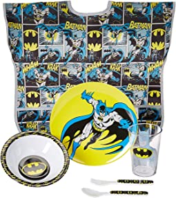 DC Comics Batman Five-Piece Melamine Set w/ Bib