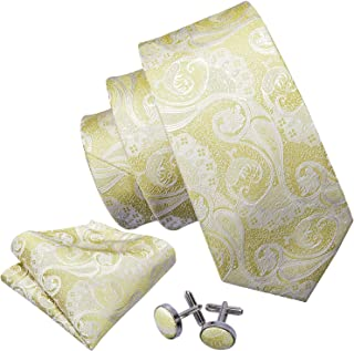 Barry.Wang Men Ties Set Pocket Square Cufflinks Woven Solid Paisley