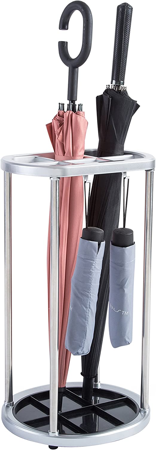 MyGift 6-Slot Umbrella Stand Holder with 4 Compact Umbrella Hooks and Removable Base