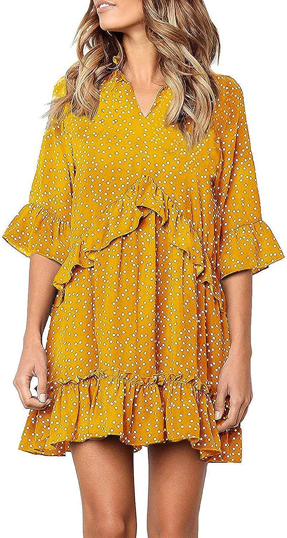 Fronage Women's V Neck Ruffle Polka Dot Loose Swing Casual Short T-Shirt Dress
