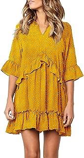 Women's V Neck Ruffle Polka Dot Loose Swing Casual Short T-Shirt Dress