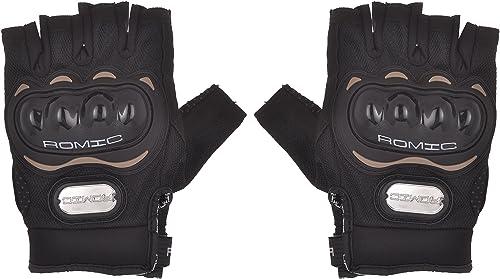 Romic Motorcycle Half Gloves (Black, XL)