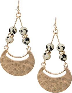 New! Boho Ethnic Hammered Dalmatian Paddle Statement Earrings Gold and Silver for Women | SPUNKYsoul Collection