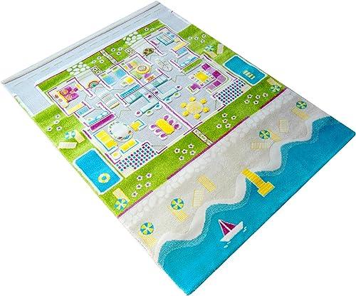 Little Helper LHB121MD035TR134180-G, IVI Hypoallergener Dicker 3D-Kinderspielteppich, Farbenfrohes Design Sommerhaus mit dreidimensionalen R en, 134 x 180cm  , Mehrfarbig türkisfarbenem