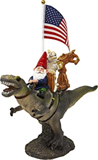 Funny Guy Mugs Garden Gnome Statue - T-Rex Fellowship - Indoor/Outdoor Garden Gnome Sculpture for Patio, Yard or Lawn