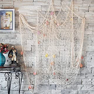 CoZroom Fish Net Wall Decoration Pack with Seashells for Party Home Living Room Bedroom Mediterranean Style Medium Size 4ft 11 X 6ft6