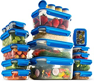 40-Piece Airtight Food Storage Containers Set With Lids - BPA Free Durable Plastic Food Containers Set - 100% Leak Proof G...