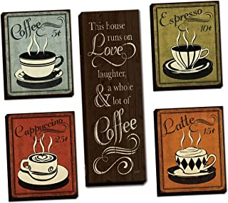 Classic Retro Coffee, Espresso, Cappuccino, Latte and 'This House Runs On Love Laughter and a Whole Lot Of Coffee