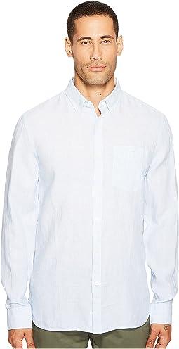 Long Sleeve Linen Micro Stripe Shirt
