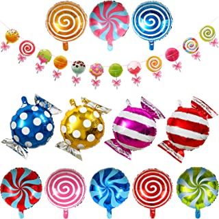 Candyland Banner Lollipop Banner Donut Banner with 12 Pieces Candy Balloons Round Windmill Lollipop Balloons for Candyland Wedding Birthday Christmas Party Supplies