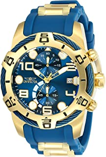 Invicta Men's Bolt 50mm Stainless Steel and Silicone Chronograph Quartz Watch, Blue/Gold (Model: 24217)