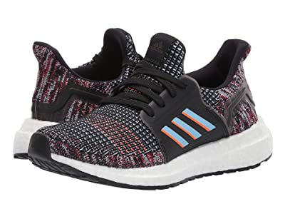adidas Kids UltraBoost 19 (Little Kid) (Black/Glow Blue/Hi-Res Coral) Kids Shoes
