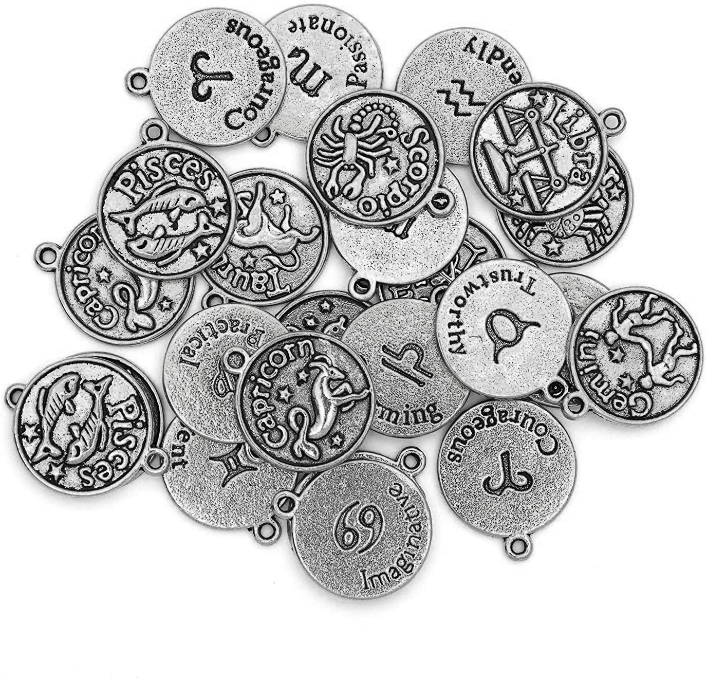 Cousin DIY Zodiac Charm Set Bargain sale for Making Jewelry Ranking TOP13 Count 24 Silver