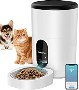 Cat Feeder Automatic WiFi Enabled 4L Pet Food Dispenser for Cats and Dogs,Timed Pet Feeder with Desiccant Bag for Dry Food Portion Control Up to 10 Meals Per Day & 10s Voice Recorder Portion Control