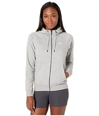 Nike NSW Essential Hoodie Full Zip Fleece (Dark Grey Heather/White) Women