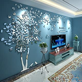 N.SunForest 3D Crystal Acrylic Couple Tree Wall Stickers Silver Self-Adhesive DIY Wall Murals Home Decor Art - Large