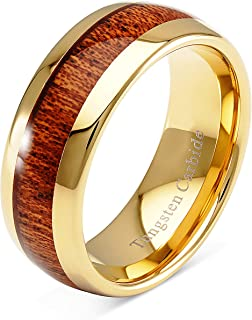 100S JEWELRY Mens Wedding Bands Tungsten Rings Koa Wood Inlay 14k Gold Plated Size 6-16