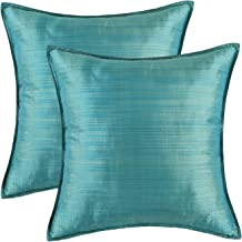 CaliTime Pack of 2 Silky Throw Pillow Covers Cases for Couch Sofa Bed Modern Light Weight Dyed Striped 20 X 20 Inches Teal