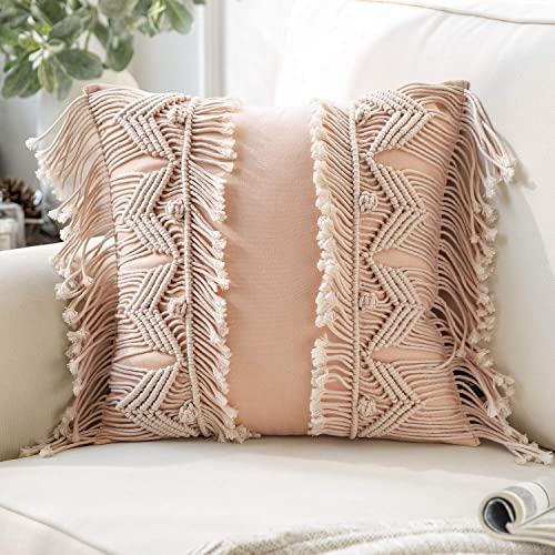 lowest Phantoscope 100% Cotton Handmade Symmetry 3D Crochet Woven Boho Throw Pillow Farmhouse Pillow Insert Included Decorative online sale Cushion for Couch new arrival Sofa Pink 18 x 18 inches 45 x 45 cm outlet online sale