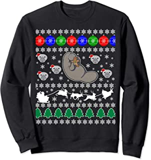 Manatee Sea Cow Ugly Christmas Sweater Xmas Party Fun Jumper Sweatshirt