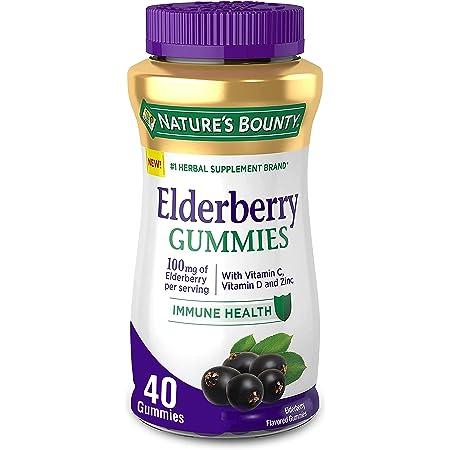Nature's Bounty Elderberry Gummies, Contains Vitamin A, C, D, E and Zinc, 40 Gummies