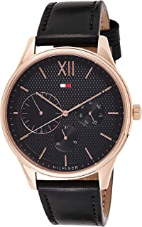 Tommy Hilfiger Men's Black Dial Leather Band Watch - 1791419