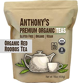 Anthony's Organic Red Rooibos Loose Leaf Tea, 1 lb, Gluten Free, Non GMO, Non Irradiated, Keto Friendly