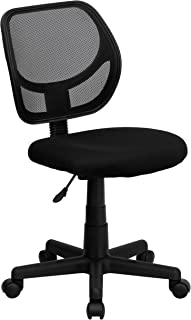 Flash Furniture Low Back Black Mesh Swivel Task Office Chair with Curved Square Back -