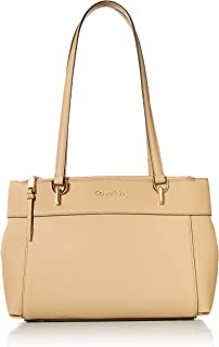 Calvin Klein Hayden Saffiano Leather Triple Compartment Shoulder Bag Satchel