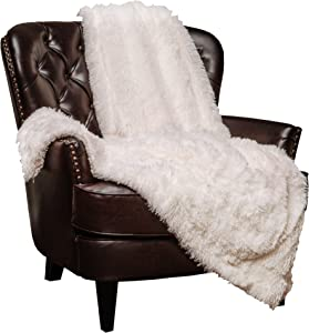 Chanasya Shaggy Longfur Faux Fur Throw Blanket - Fuzzy Lightweight Plush Sherpa Fleece Microfiber Blanket - for Couch Bed Chair Photo Props (50x65 Inches) White